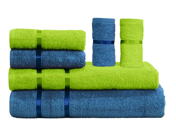 Story@Home 6 Piece Cotton Bath and Hand Towel Set - Lime and Navy