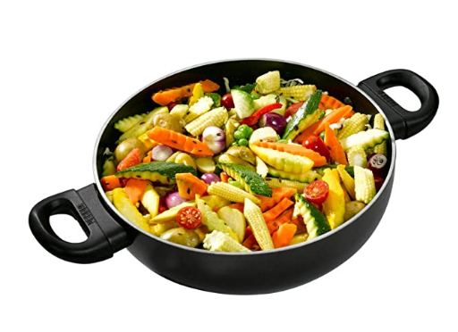 Usha Shriram Nonstick Kadai With Stainless Steel Lid, 3.5L (Black)