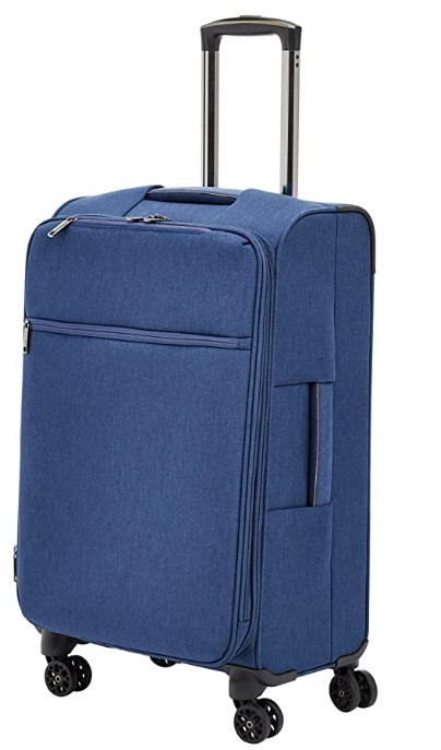 AmazonBasics Belltown Softside Rolling Spinner Suitcase Luggage - 25 Inch, Heather Blue