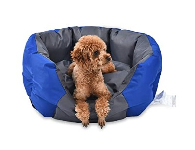AmazonBasics Water-Resistant Pet Bed for Small Dogs, Oval, Royal Blue, 68 cm
