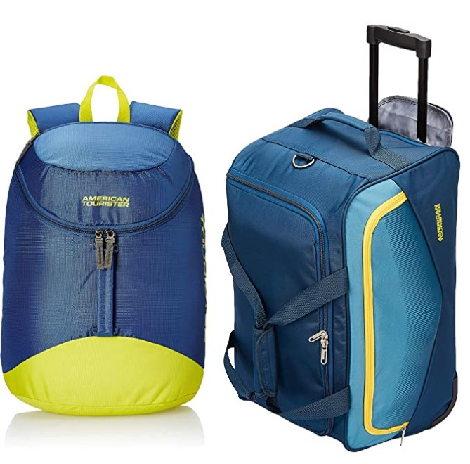 American Tourister 32 Ltrs Black Casual Backpack & American Tourister Ohio Polyester 55 cms Blue Travel Duffle