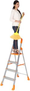 Happer Premium Foldable Aluminium Step Ladder, Clamber Pro, 4 Steps (Orange & Satin)
