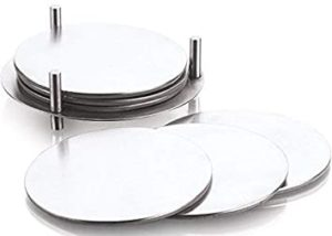 Profusion Stainless Steel Round Coaster with Leather Rs 160 amazon dealnloot