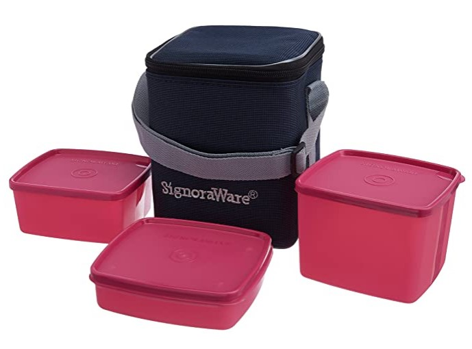 Signoraware Director Special Medium Lunch Box with Bag, Pink