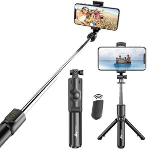 WeCool Bluetooth Extendable Selfie Sticks with Wireless Remote and Tripod Stand