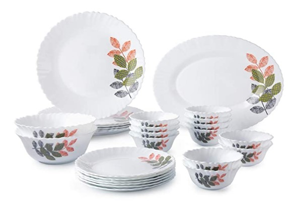 Amazon Brand - Solimo Opalware Dinner Set, 27 Pieces (Spring)