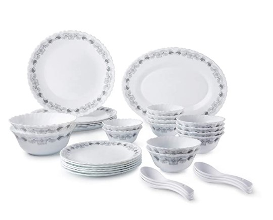 Amazon Brand - Solimo Opalware Dinner Set, 33 Pieces (Ivory)