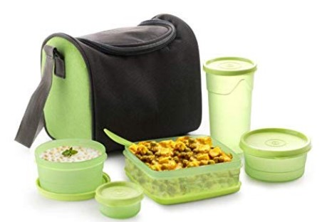 Floraware Fresh Sling 5 Container Lunch Box with Bag, Green