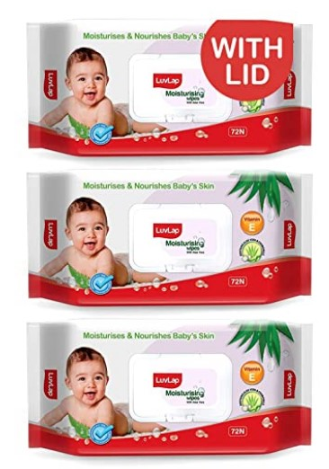 LuvLap Paraben Free Baby Wipes with Aloe Vera, with Fliptop Lid