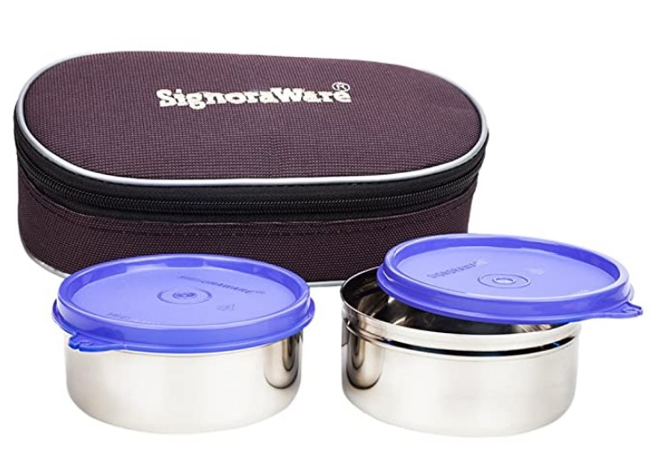 Signoraware Midday Max Fresh Stainless Steel Lunch Box Set, 350ml, Set of 2, Violet