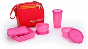 Signoraware Plastic Lunch Box Set with Bag Rs 309 amazon dealnloot