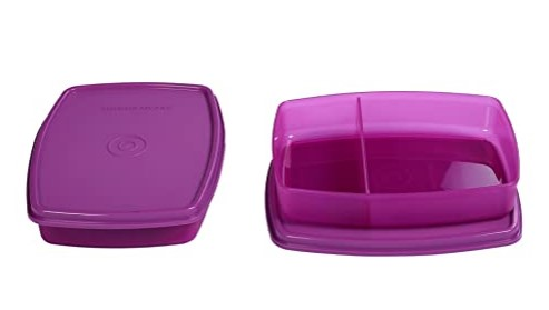 Signoraware Small Slim Lunch Box Set, 340ml, Set of 2, Purple