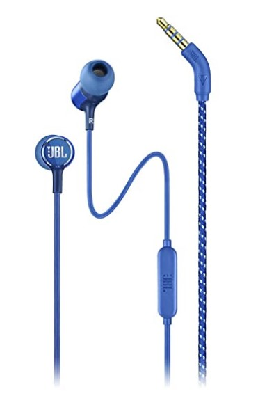 JBL LIVE100 by Harman in-Ear Headphones with in-Line Microphone and Remote (Blue)