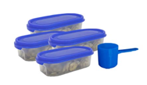 ARK HOME Stackable BPA-Free Premium Kitchen Oval Airtight Food storage container set for Dal, Atta, Rice, snacks, pluses in Tiffany Blue Design with serving scoops in each container