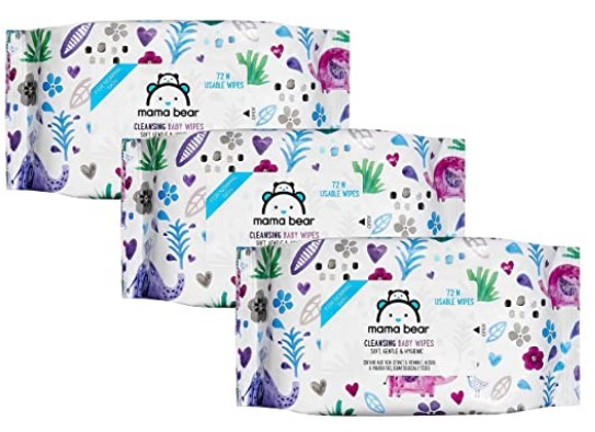 Amazon Brand - Mama Bear Wet Wipes (Pack of 3, 72 Sheets per Pack)