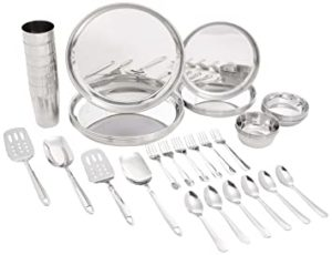 Amazon Brand Solimo Stainless Steel Dinner Set Rs 1075 amazon dealnloot