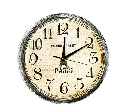 Story@Home 12-inch Vintage Collection Round Shape Plastic Wall Clock (30 cm x 30 cm x 1.5 cm, Black and Beige)