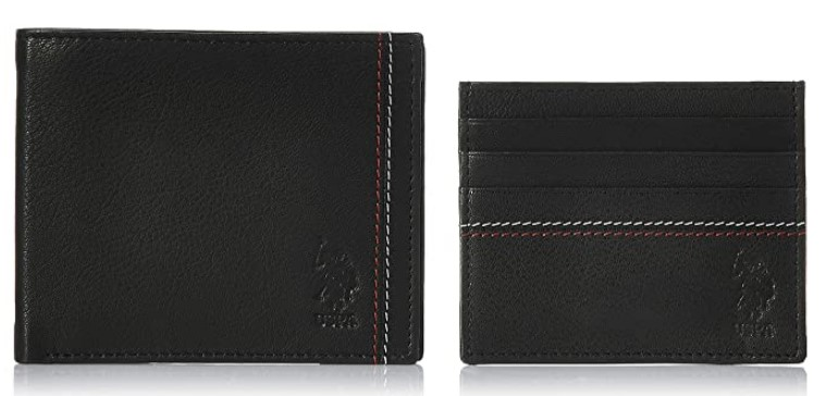 US Polo Association Black Leather Men's Wallet and Card Case