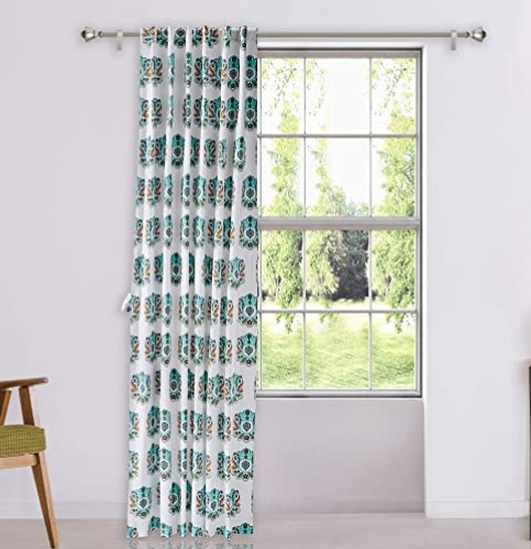 Amazon Brand - Solimo Cantata 100% Cotton Printed Long Door Curtain, 5 x 9 ft