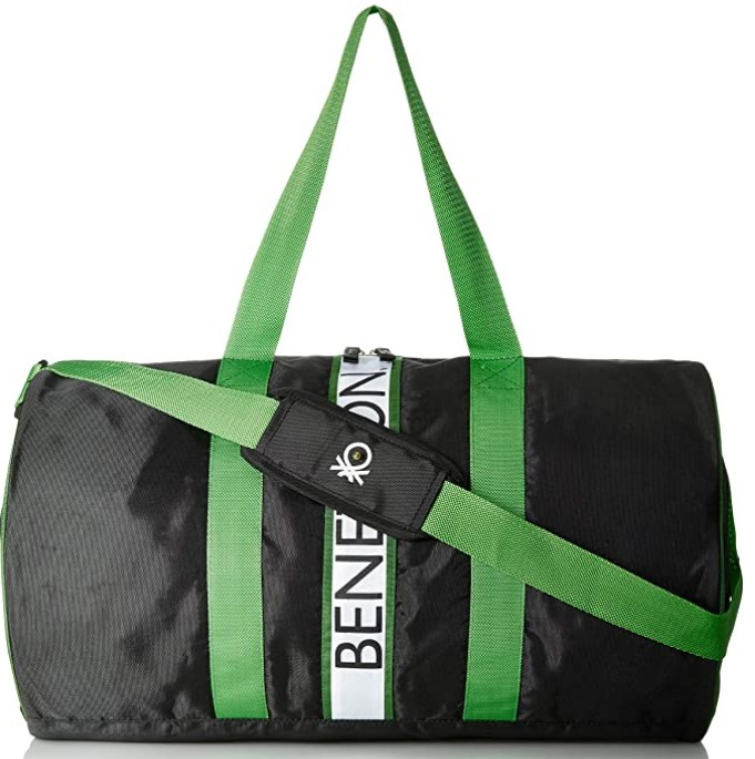 United Colors of Benetton Polyester 50 cms Black Green Travel Duffle
