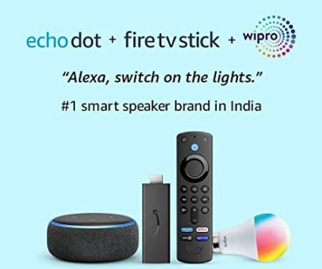 Echo Dot (3rd Gen, Black) combo with Fire TV Stick and Wipro 9W LED smart color bulb