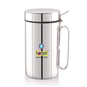 Komal White Cap Stainless Steel Oil Can Rs 216 amazon dealnloot