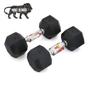 RUBX Rubber Coated Professional Exercise Hex Dumbbells Rs 200 amazon dealnloot